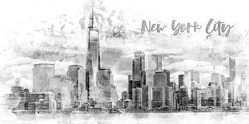 Art Moderne NYC Manhattan Skyline | Aquarell monochrome sur Melanie Viola
