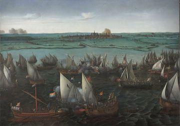 Kampf zwischen niederländischen und spanischen Schiffen auf dem Haarlemmermeer, Hendrick Cornelisz V