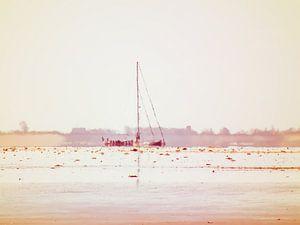 Zeilboot aan de horizon van de Waddenzee.