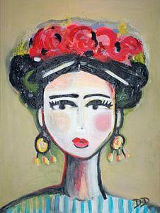 Frida mit Rosen