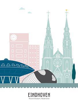 Skyline illustratie stad Eindhoven in kleur van Mevrouw Emmer