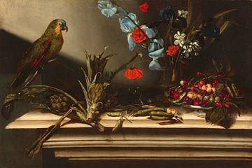 Stilleben mit Artischocken und einem Papagei, Italienisch 17.