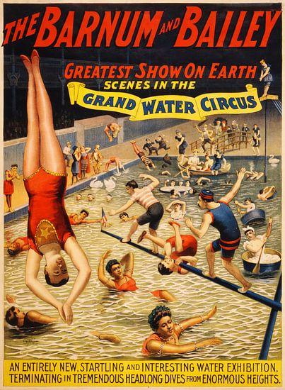 Vrolijke oude poster van een circus, 1895