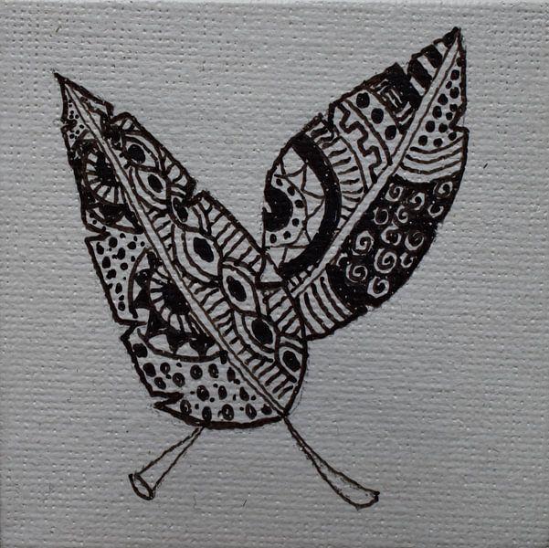 Mini-canvas veren Zentangle van Angelique van 't Riet