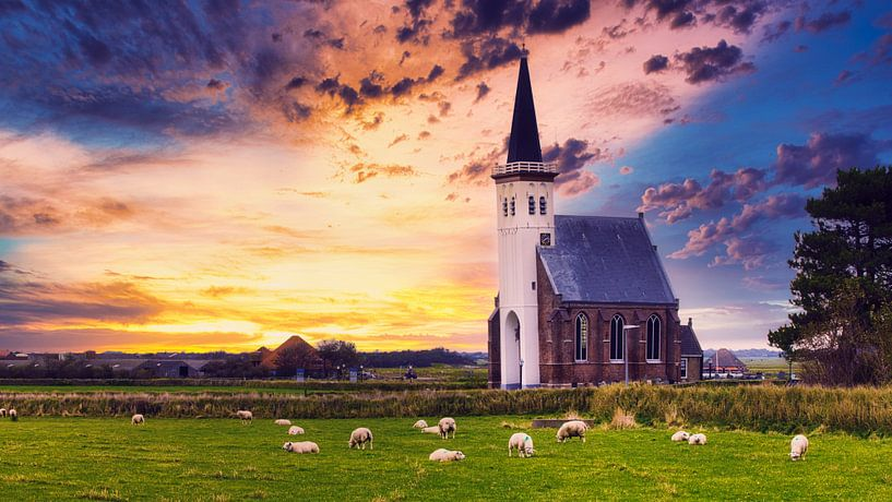 Het kerkje van Den Hoorn op Texel van Hilda Weges
