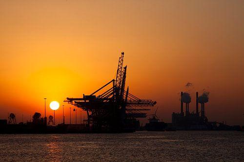 Sunset op de Maasvlakte van