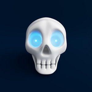Grappige schedel met blauw schijnende ogen 2