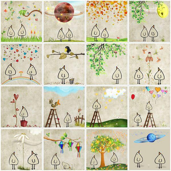 Kippenvogel Collage 2 van Marion Tenbergen