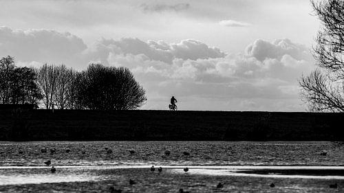 Eenzame Fietser op de dijk