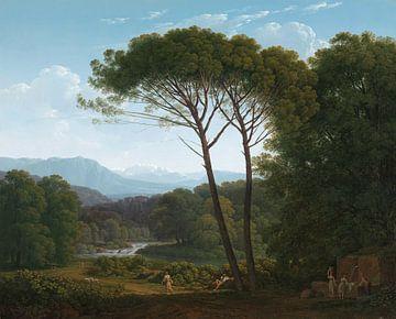 Hendrik Voogd, Italiaans landschap met pijnbomen sur Meesterlijcke Meesters