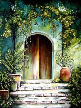 Mediterrane Terrasse Malerei von Marita Zacharias