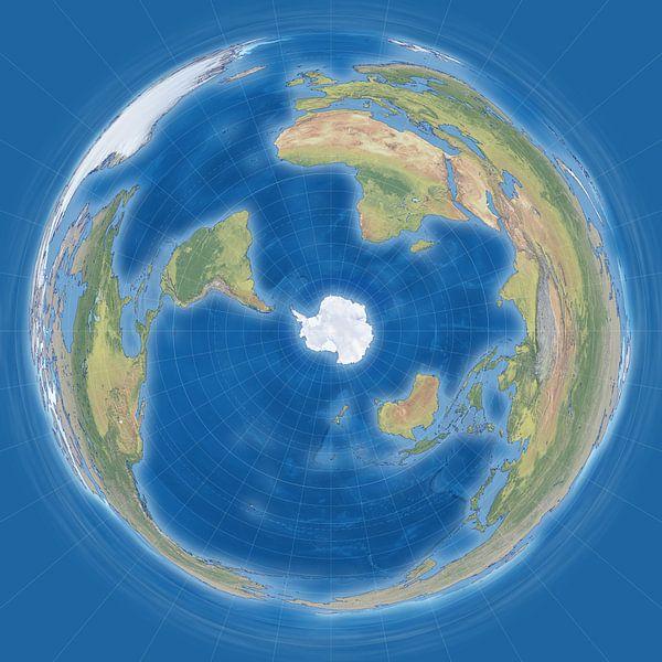 Wereldkaart, pinguinprojectie van Frans Blok