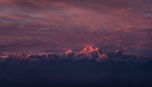 Zonsondergang Himalaya roze gloed van