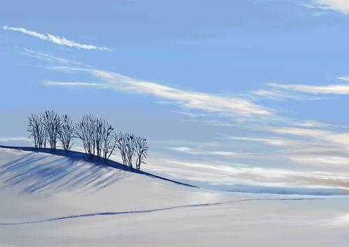 Aquarel schilderij van een Winterlandschap