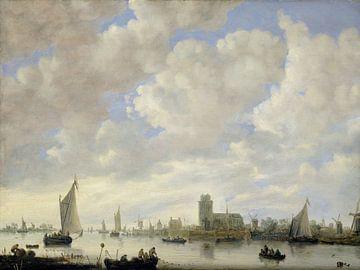Gezicht op de Merwede voor Dordrecht, Jeronymus van Diest (II) (toegeschreven aan) sur