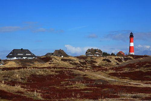 Vuurtoren Hörnum en huizen (Sylt) van Frank Herrmann