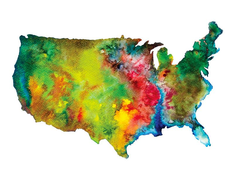 Carte de l'Amérique du Nord en style abstrait | Peinture à l'aquarelle sur Wereldkaarten.Shop