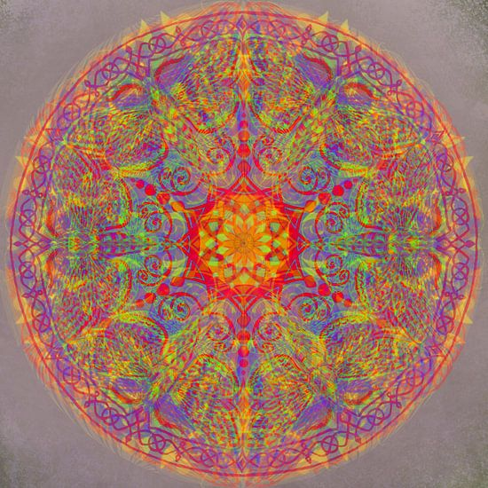 Grafische mandala, diverse kleuren