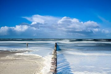 Het ondergelopen strand van Ameland van