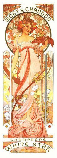Schilderij Dranken - Champagne - Art Nouveau Schilderij Mucha Jugendstil