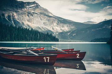 Emerald lake weerspiegeling van