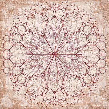 Mandala getekend in rood van Rietje Bulthuis