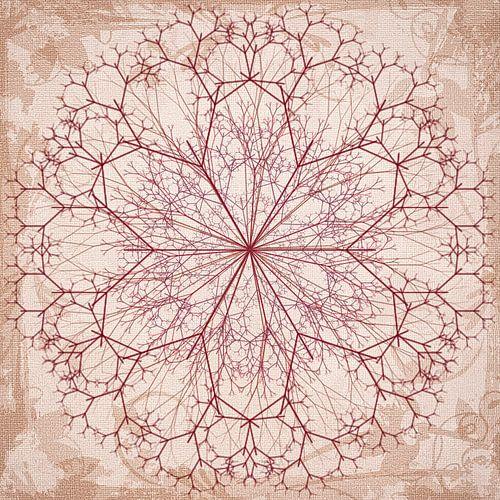Mandala getekend in rood