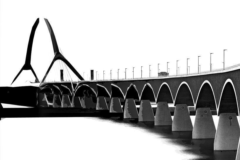 Brug De Oversteek bij Nijmegen in zwart-wit van Maerten Prins