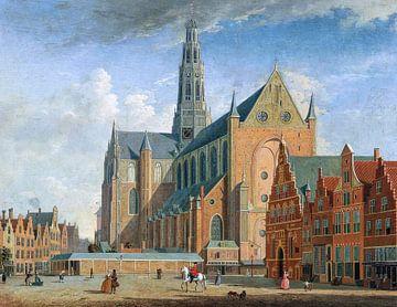 Haarlem, Grote Markt, Jan ten Compe - 1730 von Atelier Liesjes