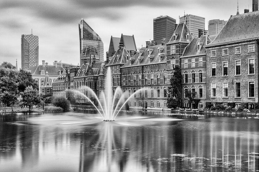 Den Haag - Hofvijver in zwart / wit van Stefan Fokkens