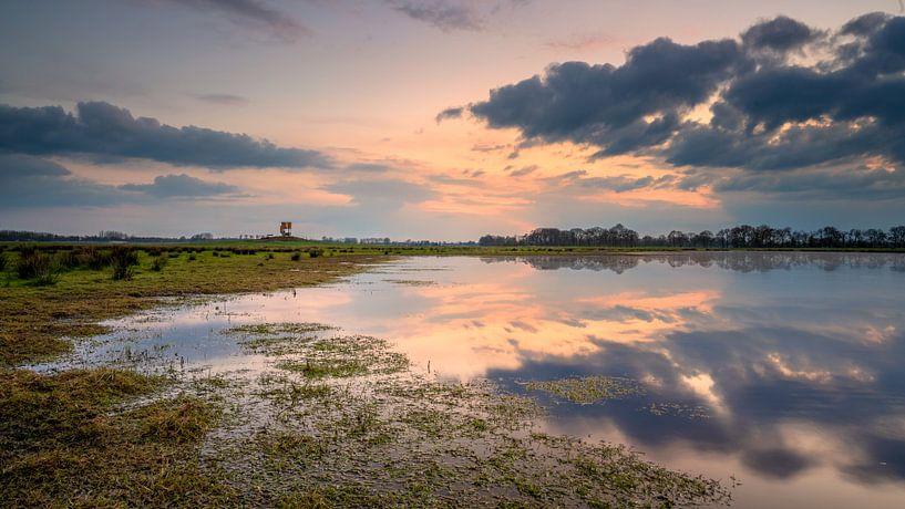 Ondergelopen grasland Marumerlage Groningen van Martijn van Dellen