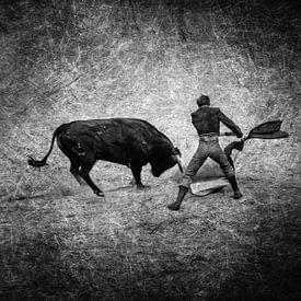 Stierkampf Torero und Stier in schwarz-weiss von Dieter Walther