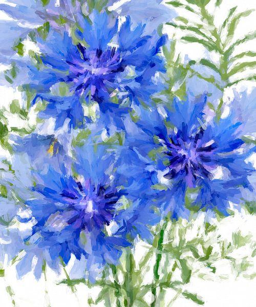 Abstracte korenbloemen van Marion Tenbergen