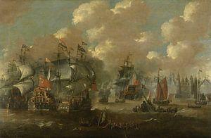 Schilderij: Zeeslag bij Elseneur in de Sont tussen de Hollandse en de Zweedse vloot, 8 november 1658 van