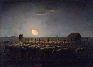 The Sheepfold, Moonlight, Jean-François Millet