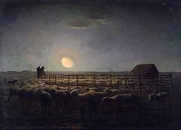 De schaapskooi, Maanlicht, Jean-François Millet