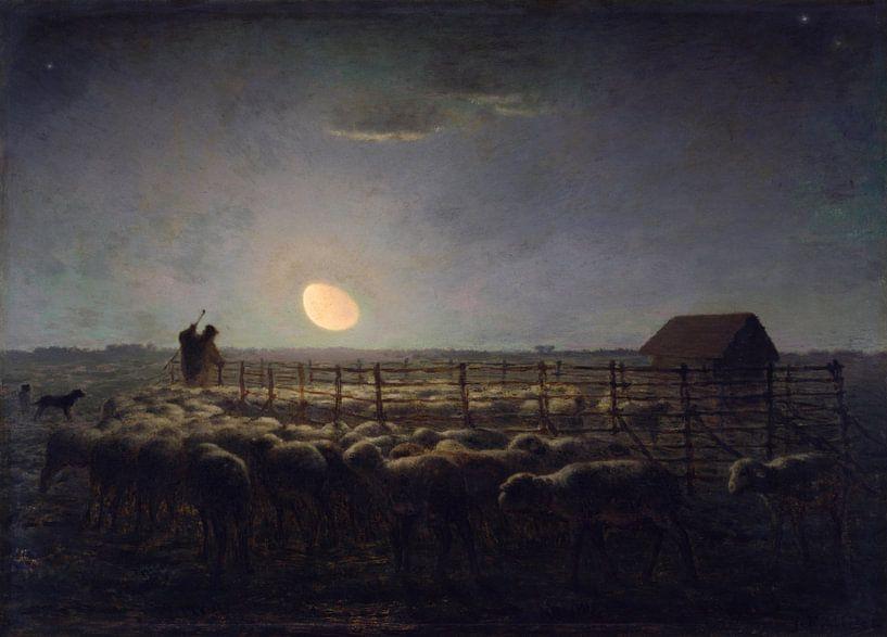 The Sheepfold, Moonlight, Jean-François Millet von Meesterlijcke Meesters