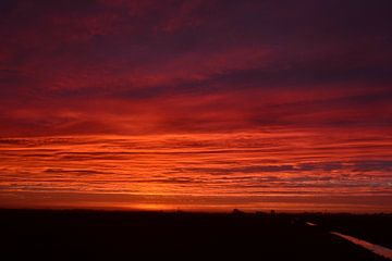 Zonsopkomst nabij Visvliet, Groningen, Nederland. Gemaakt op een koude januari ochtend. van Mark van der Werf