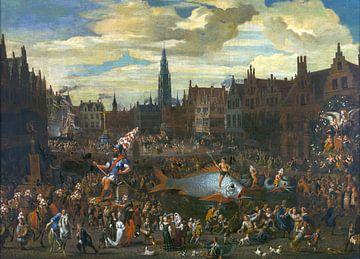 Ommegang an der Meir in Antwerpen - 1600er Jahre von Atelier Liesjes