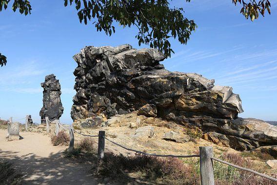 De Teufelsmauer tussen Neinstedt en Weddersleben in het Harzgebergte
