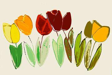 gestileerde, bijna abstracte tulpen van Hanneke Luit