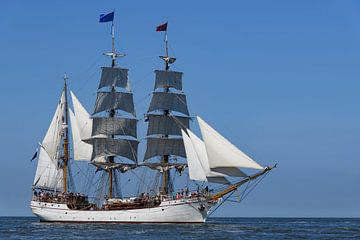 Drieemaster bark Artemis klassiek zeilt op de Waddenzee van Sjoerd van der Wal