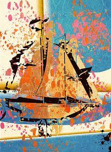 Sailing X 2 boot collage van Groothuizen Foto Art