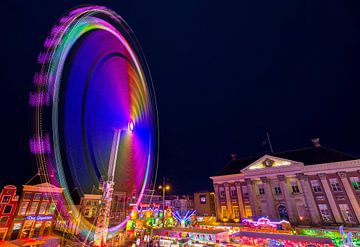 Verlicht reuzenrad (Groningen - Nederland) van Marcel Kerdijk