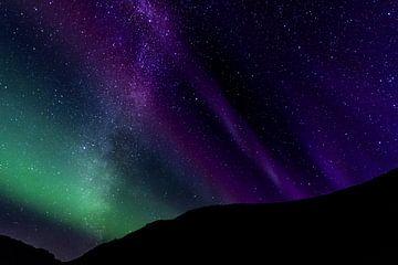Aurore boréale et galaxie