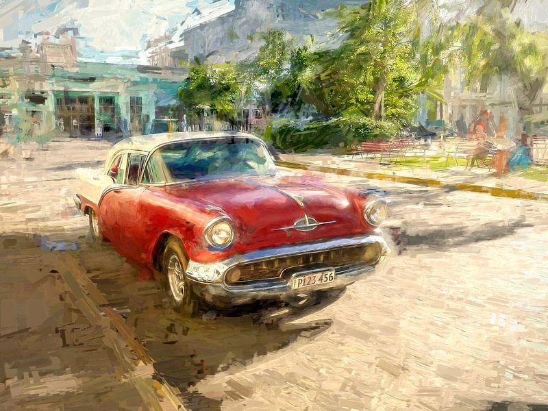 Rode Cubaanse Oldtimer van Arjen Roos