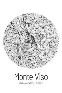 Monte Viso | Kaart Topografie (Minimaal) van ViaMapia