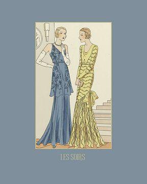 Les soirs -  De avonden, Chic, bal, Art Deco, Vintage, retro fashion print van NOONY