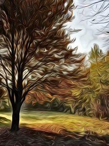 digitale kunst, bomen in herfstkleuren