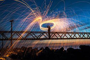 Light Painting met spetterend brandend staalwol